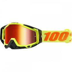 100% Racecraft Attack Yellow szemüveg piros tükrös lencsével