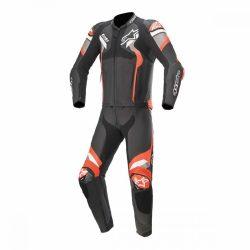 Alpinestars bőrruha 2- TEILER ATEM V4   fekete-sötétszürke-fluo piros