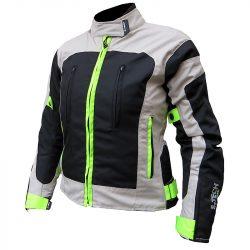 S-Tech Passion black-grey-fluo női motoros kabát, rövid