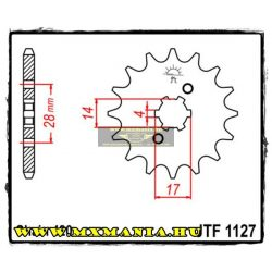 JT Sprockets első lánckerék, 1127, Bultaco/Derbi/Gilera utcai motorokhoz 50ccm