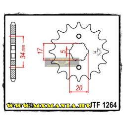 JT Sprockets első lánckerék, 1264, Honda CBR/CBF/CBZ/XLR/CLR, Derbi 125