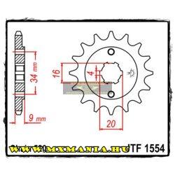 JT Sprockets első lánckerék, 1554, Yamaha YFS/TT-R/DT, Hyosung GT/GV