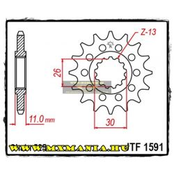 JT Sprockets első lánckerék, 1591, Yamaha FZ/MT/TDM