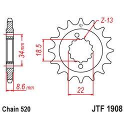 JT Sprockets első lánckerék, R 1908, KTM Road motorokhoz, Duke 390, RC390...