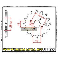 JT Sprockets első lánckerék, 253, Honda Off Road, ATV motorokhoz