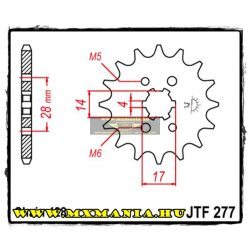 JT Sprockets első lánckerék, 277, Aprilia 125 RS/RS4, Honda TRX/CRF