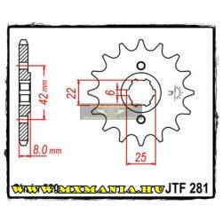 JT Sprockets első lánckerék, 281, Honda XR/XL/CB/XL/NX