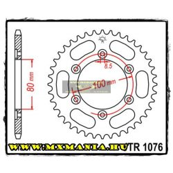 JT Sprockets hátsó lánckerék, 1076, Rieju Road/OffRoad motorokhoz