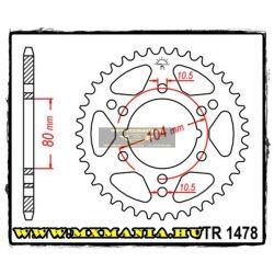 JT Sprockets hátsó lánckerék, 1478, Polaris ATV, Kawasaki ATV, Kawasaki Road,