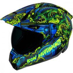 ICON  Variant Pro™ Willy Pete  bukósisak, fekete-kék-fluo zöld