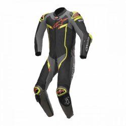 Alpinestars bőrruha LEDER 1-TEILER GP PRO V2 TECH AIR BAG fekete-ezüstszürke -sárga
