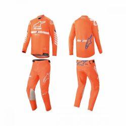 ALPINESTARS Racer TECH  crossruha szett, FLUO NARANCS-FEHÉR