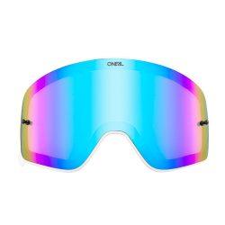 O'neal B50 szemüveg lencse, kék tükrös, fehér kerettel